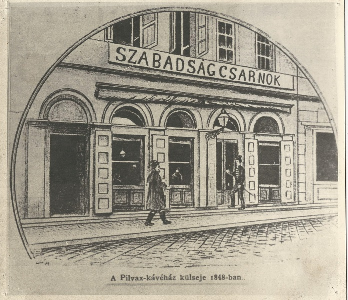 A Pilvax, majd Fillinger Kávéház, amelyet Petőfi átkeresztel Szabadság Csarnokának | Forrás: MaNDA