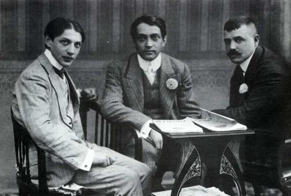 Ady Endre 1908-ban, sikerének csúcsán, két nagyváradi újságíró barátjával, Emőd Tamással és Dutka Ákossal