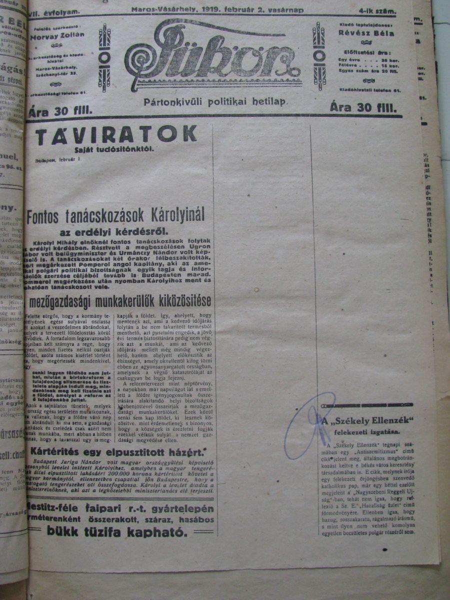 A Tükörnek az egyik cenzúrázott lapszáma