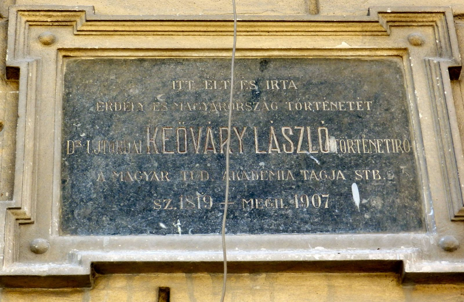 Emléktábla Kőváry László kolozsvári házának falán, az Óvárban