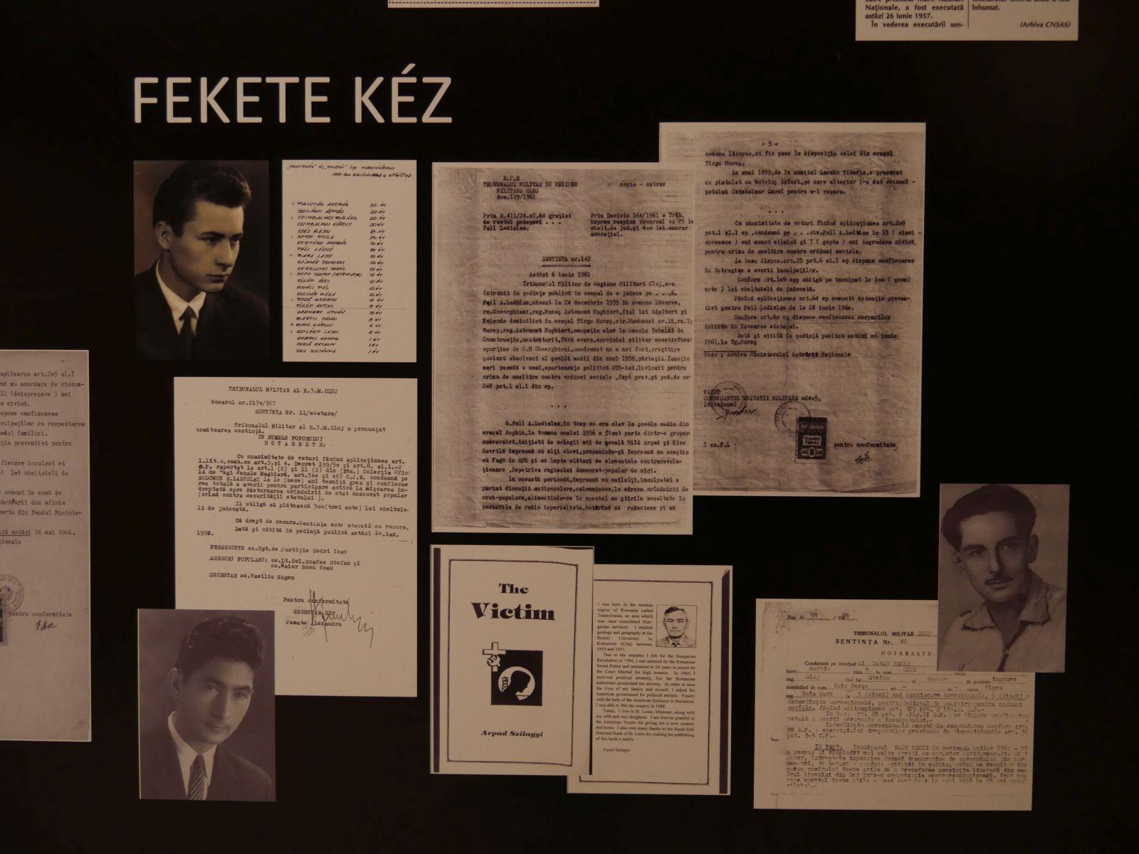 A Fekete Kéz csoportosulást bemutató iratok a sepsiszentgyörgyi 1956-os emlékmúzeumban