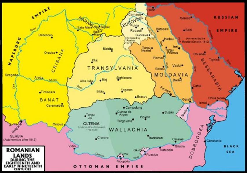 A két román fejedelemség az 1859-es egyesüléskor