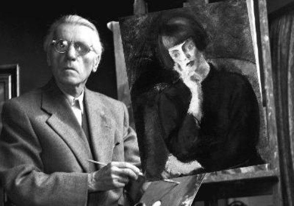Az idős Márffy Ödön és egyik Csinszka-festménye