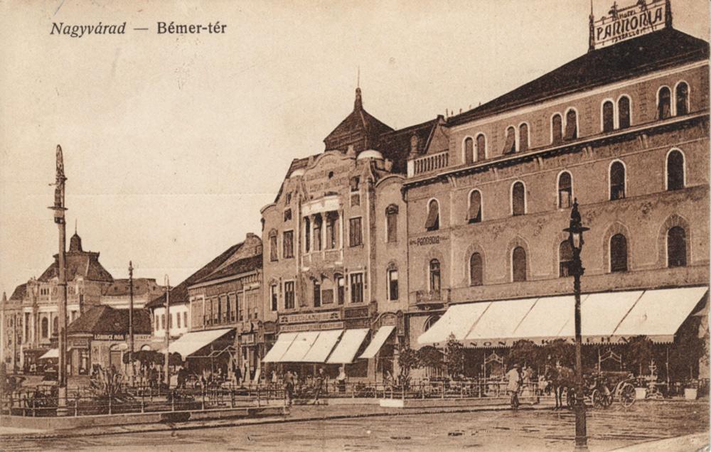 A Pannónia szálló a nagyváradi Bémer téren. Ennek volt a vendége Ady Endre és öccse, Ady Lajos a háború kitörésének napján