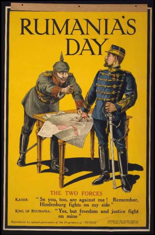 Plakát a román hadbalépésről