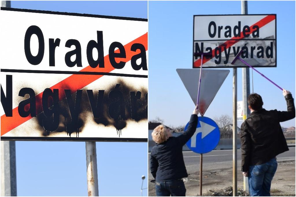 Lemázolták Nagyvárad bejáratánál a magyar feliratot