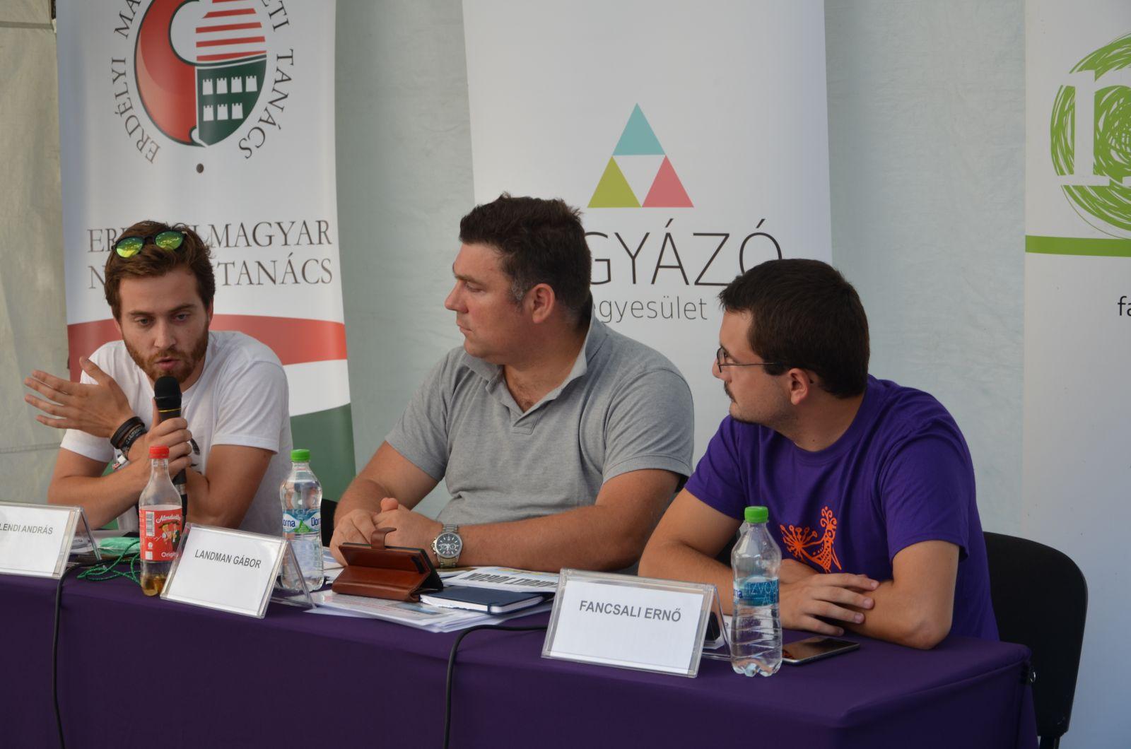 Bethlendi András, Landman Gábor és Fancsali Ernő a Kolozsvári Magyar Napokon| A szerző fotója